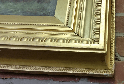 Neoclassical style frame - corner close-up showing rais-de-coeur.