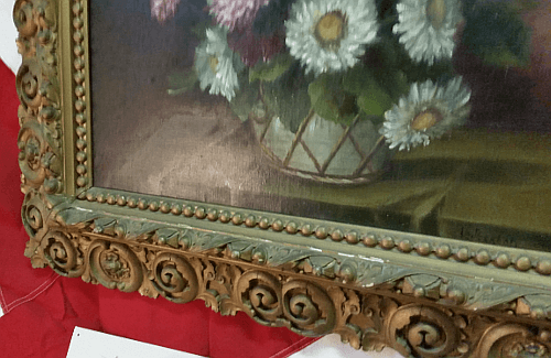 Victorian Frame Still Life - corner close-up.