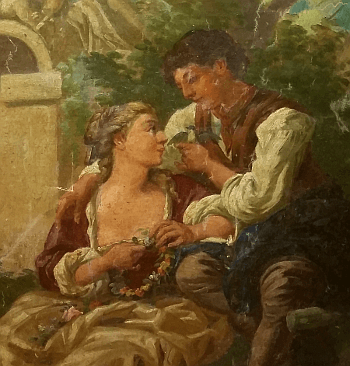 Rococo reproduction painting by unknown artist. (Detail)