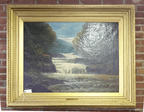 Neoclassical frame. Waterfall scene by unknown artist.
