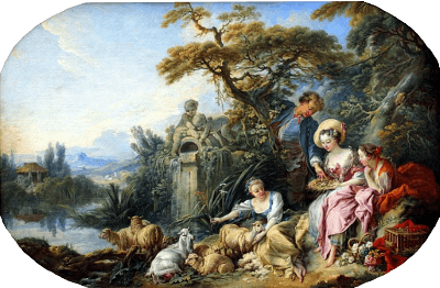 Francois Boucher (1703-1770): The Shepherd's Gift (The Nest) (1740)